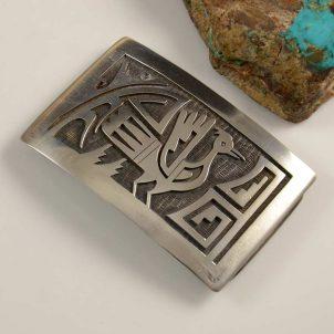 Vintage Hopi Silver Overlay Buckle