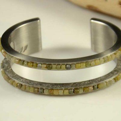 Pat Pruitt Stainless Steel Industrial Diamond Bracelet