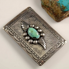 Vintage Silver Kingman Turquoise Buckle