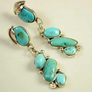 Tammy Deysee Silver Turquoise Zuni Earrings