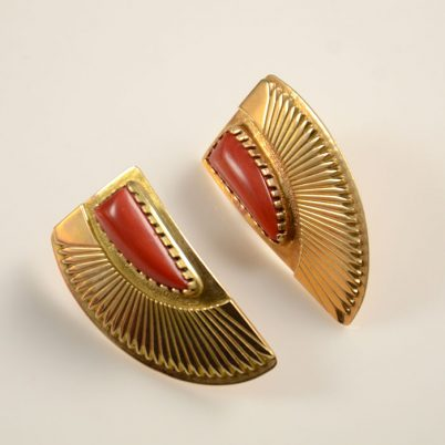 Kee Nez 14kt Gold Coral Navajo Earrings