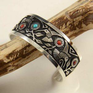 Philbert Begay Navajo Silver Turquoise Coral Bracelet