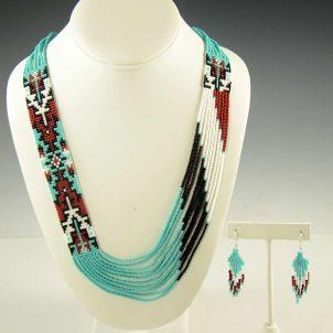 Beaded Navajo Necklace Earrings Rena Charles