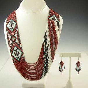 Navajo Beaded Necklace and Earrings