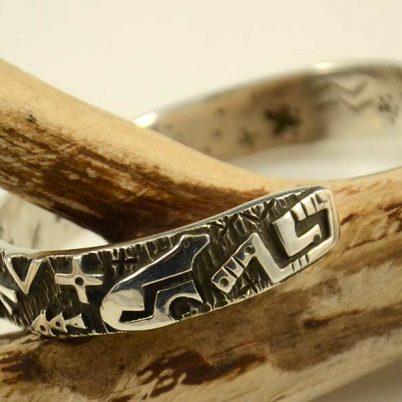 Silver Overlay Navajo Bracelet Kee Yazzie