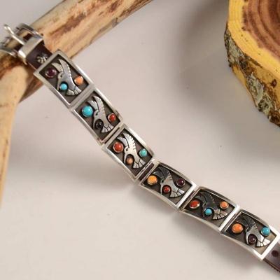 Aaron John Leather Silver Navajo Bracelet