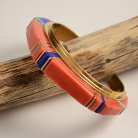 18kt Gold Hopi Inlay Bracelet by Sonwai