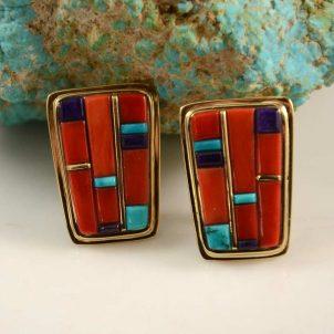 Sonwai 18kt Gold Inlay Hopi Earrings
