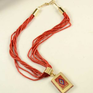Benson Manygoats Gold Coral Navajo Necklace