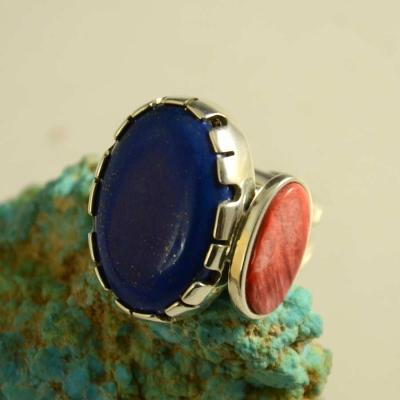 Vernon Begaye Lapis Navajo Silver Ring