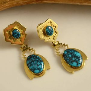 Dina Huntinghorse Gold Earrings Lone Mountain Turquoise