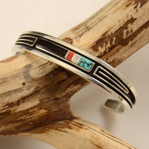 Albert Nells Narrow Inlay Navajo Bracelet