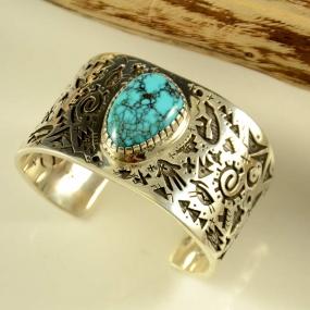 Kee Yazzie Silver Bracelet Lone Mountain Turquoise