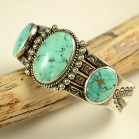 Perry Shorty Coin Silver Navajo Bracelet Turquoise