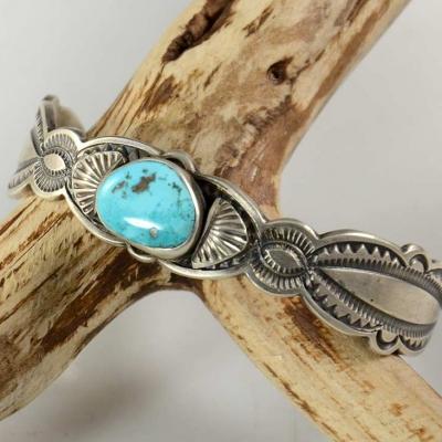 Don Platero Navajo Silver Bracelet Blue Gem Turquoise