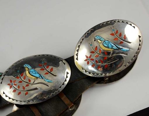 Wayne Silvers Inlay Navajo Concho Belt