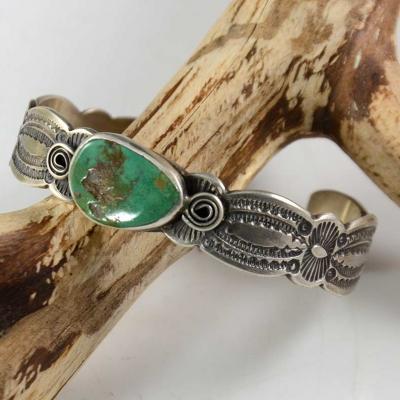 Don Platero Navajo Silver Bracelet Royston Turquoise