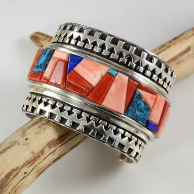 Inlaid Multi Stone Navajo BraceletInlaid Multi Stone Navajo Bracelet
