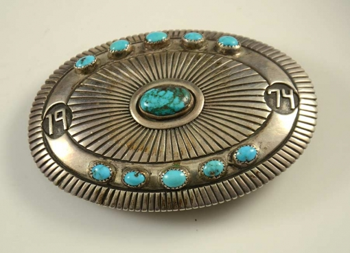 Navajo Silver Turquoise Buckle Johnny Mike Begay
