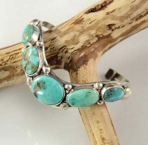 David Lister Silver Kingman Turquoise Navajo Bracelet