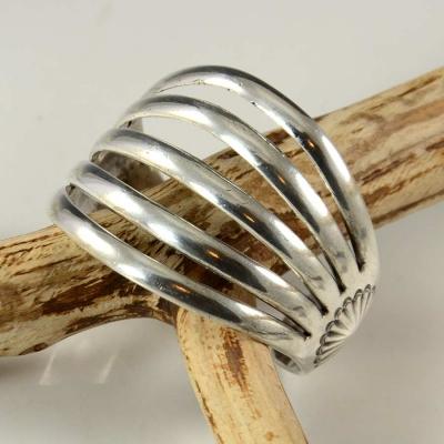 White Hogan Navajo Silver Bracelet