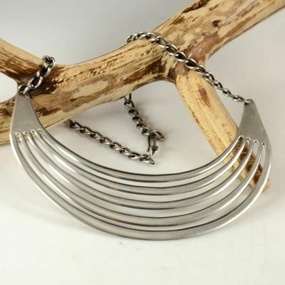 White Hogan Navajo Silver Necklace