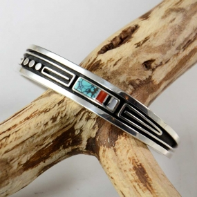 Albert Nells Inlay Navajo Bracelet