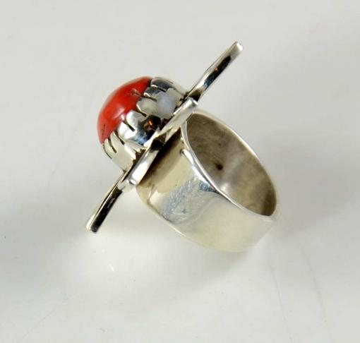Kee Yazzie Silver Coral Ring Navajo