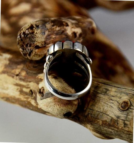 Coral Silver Navajo Ring