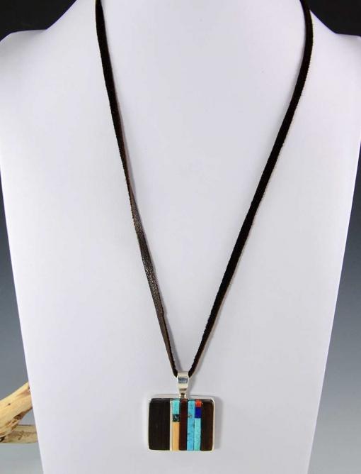 Charles Loloma Silver Inlaid Hopi Pendant