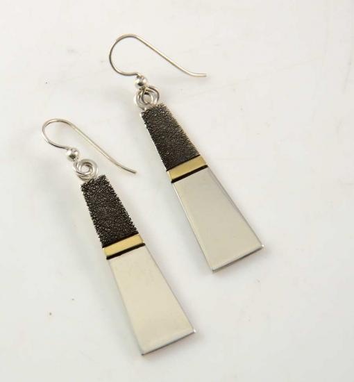 Craig Agoodie Navajo Silver Gold Earrings