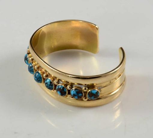 Julian Lovato 14kt Gold Persian Turquoise Bracelet