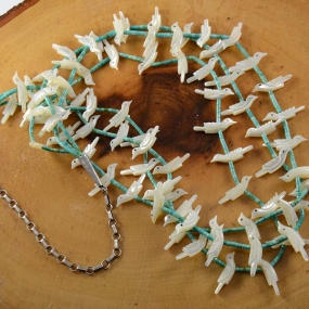 Zuni Fetish Necklace Shell Turquoise
